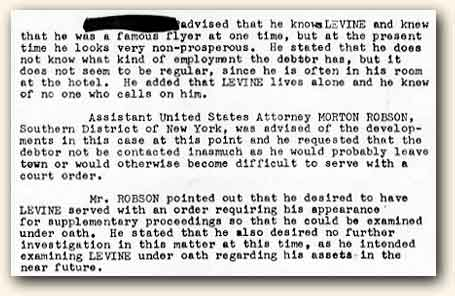 Excerpt from Charles A. Levine's FBI file