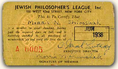 Philosopher's League membership card