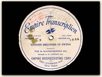 Yiddish Melodies in Swing disc label